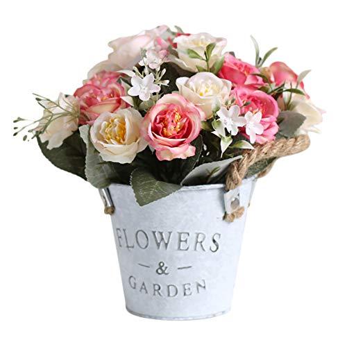 BFYDOAA Artificial Flowers In Metal Potted,Artificial Flowers Rose Potted Fake Plants with Metal Pot for Indoor Bedroom,Wedding Arrangements, Office Desk, Windowsill Decorations
