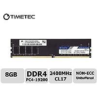 Timetec Hynix IC DDR4 2400MHz PC4-19200 Non ECC Unbuffered 1.2V CL17 2Rx8 Dual Rank 288 Pin UDIMM Desktop PC Computer Memory Ram Module Upgrade (8GB(Single Rank))