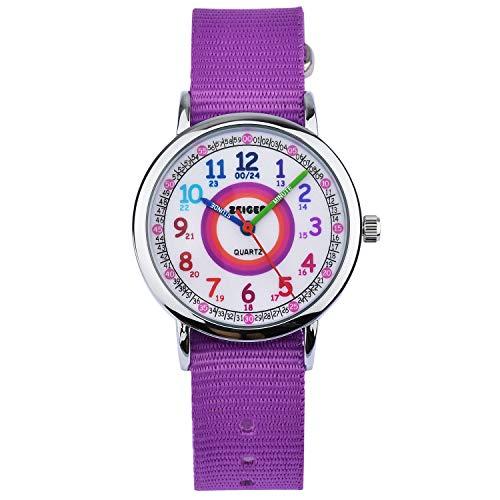 Reloj de Pulsera Nylon Infantil Niño Chica Chico Reloj Niña Educativo Nylon Púrpura Reloj para niña Reloj para niño Reloj Time Teacher Dial Fácil Lectura KW108-NEW