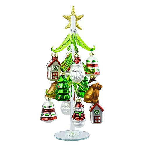 Red Green Vintage Christmas Tree Glass 10 inch Decorative Tabletop Figurine