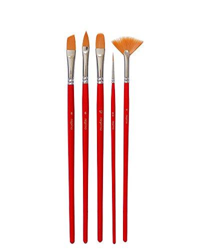 5Pennelli a lingua di gatto pennello pennello a ventaglio Pennello a punta piatta pennello Set di pennelli per colori acrilici e colori acquerello