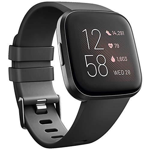 Wanme Compatible con Fitbit Versa 2 Correa Silicona Suave Ajustable Deportivo Pulsera de Reemplazo Compatible para Fitbit Versa 2 SE Mujeres y Hombres Pequeño Grande (L, 01 Negro)