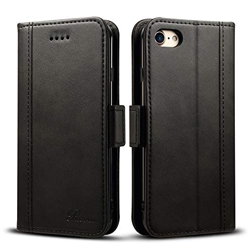 iPhone8 ケース 手帳型 iPhone SE ケース 第2世代 手帳 Rssviss アイフォン7ケース iphone 8 ケース ワイヤレス充電対応 マグネット W3 ブラック iPhone8、iPhone7対応 4.7inch