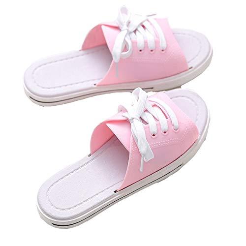 ANDME Pantuflas para Damas de Primavera y Verano, Sandalias Informales de Lona y Zapatos con Cordones (39/40, Pink, Numeric_39)