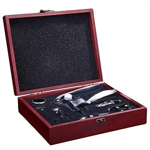 ZLININ Juego de abridor de botellas de vino tinto con tapón y vertedor en caja de madera para abrebotellas, juego de vino abierto