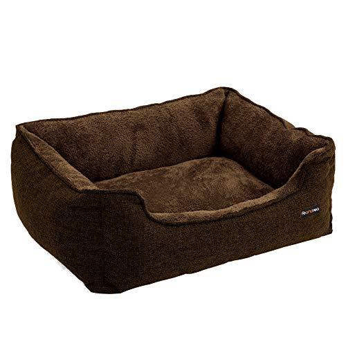 FEANDREA Hundebett, Bezug abnehmbar, Hundesofa, 70 x 55 x 21 cm, braun PGW10CC