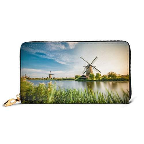 Historians Dutch Windmills Near Rotterdam portemonnee van echt leer lange portemonnee van metaal met ritssluiting voor heren met grote capaciteit