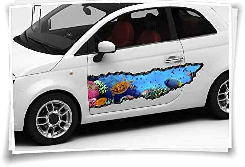 Medianlux autosticker zijstrepen vissen aquarium zee waterschildpad airbrush folie tuning car-wrapping luchtkanaalfolie digitale druk folie