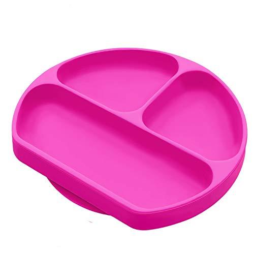 Placa de bebé de succión de silicona, destete y untensilio para niño pequeño mantel individual con dividido sección mesa alfombrilla para trona y viajes rosa (b)