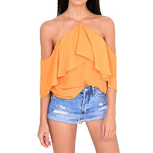 OULII Lâche décontracté hors épaule chemisier chemise fleur imprimé T-shirt haut pour les femmes Lady - taille XL (Orange)