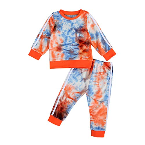Toddler Baby Girl Boy Outfit Tie Dye Sweatshirt Tops + Sweatpant 2Pcs Sweatsuit Tracksuit Clothes Pant Set (5-6X, Multi)