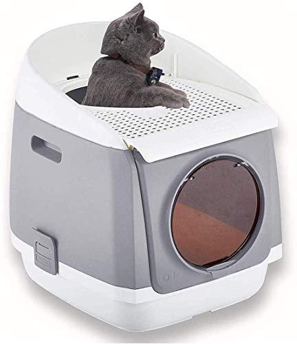 Kattenbak, Pet Kattenbak, volledig afgesloten, Portable kattenbak met grote Splash-Proof Deur, gemakkelijk schoon te maken dierbenodigdheden kattenbak, Gray LOLDF1 (Color : Gray)
