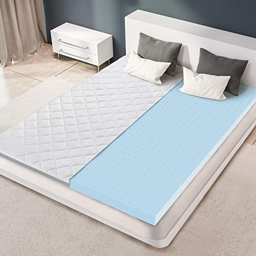BedStory - Cubrecolchón (160 x 200 HR espuma, gel infusado, colchón refrescante, espuma premium, confort óptimo, grosor 7,5 cm, con funda hipoalergénica, extraíble y lavable