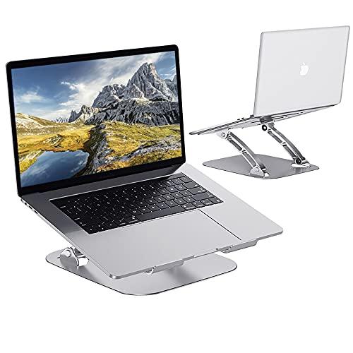Soporte Portátil, Ergonómico Laptop Stand, Plegable Ventilado Mesa Plegable Portatil de Aluminio Compatible con MacBook, Air, Pro y Otras Computadoras Portátiles de 10-17 Pulgadas, Plata