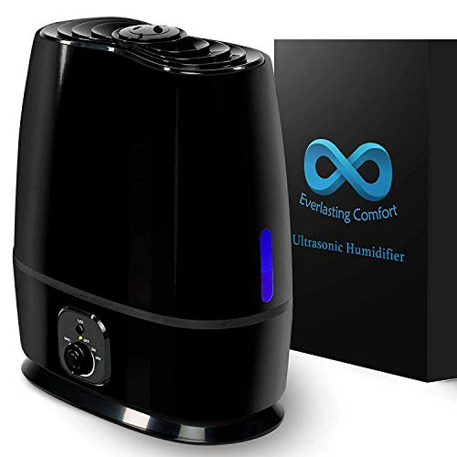 Everlasting Comfort Cool Mist Humidifier for Bedroom (6L) - Filterless, Quiet, Ultrasonic - Large Room Home Air Vaporizer With Diffuser and Essential Oil Tray (Black)