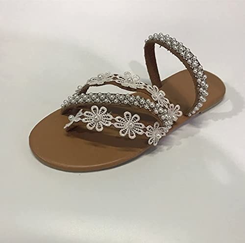 SJQ Sandalias para Mujer, Sandalias Planas para Mujer, Zapatos de Playa de Verano, Cuentas con pedrería Vintage, Diamantes de imitación, Clip Brillante, Anillo en el Dedo del pie, Chanclas, Sand