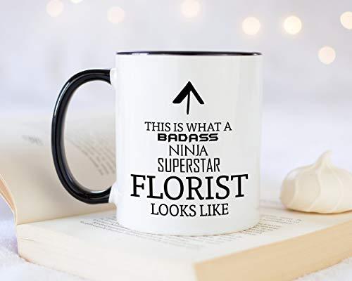 Dit is wat een badass bloemist eruit ziet als 11oz koffiemok Thee Gift Idee voor Flower Arranger Shop Eigenaar Business Manager Bloemen Planten
