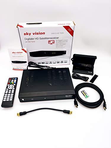 Sky Vision 2000 HD Digitaler Satelliten Receiver mit Twin Tuner + inkl. 1TB Festplatte zum aufnehmen (Full HD 1080p, USB 2.0, DVB-S2, HDMI) R9205