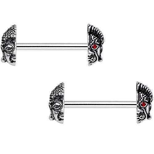 Body Candy Nipplerings Piercing Women 14G 9/16' Stainless Steel Andriod Buddha 2Pc Barbell Nipple Ring Set 14mm