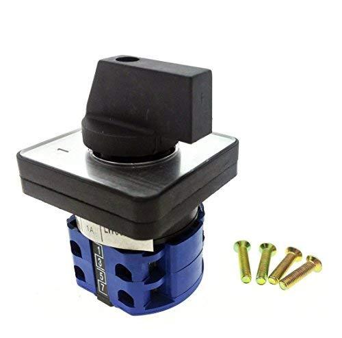 Interruptor de cambio de levas 3 posiciones 8 Terminales de tornillo, 690V Ui 16A Ith On-Off-On Selector de transferencia rotativa con tornillos