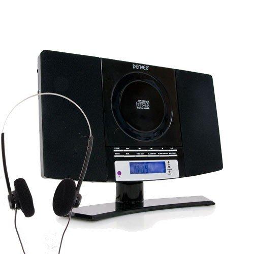 Stereoanlage Wecker Uhr LCD-Display Midianlage CD-Player MP3 AUX Radio schwarz inkl. Kopfhörer