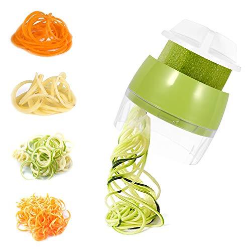 SUI-lim, affettatrice a spirale manuale per spaghetti di verdure, 4 in 1, affettatrice a spirale per verdure, per carote, cetrioli, patate, zucche, zucchine