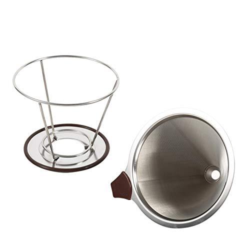 Santing Soporte para Filtro de café, Filtro de café Americano, Filtro de Cono de café Plateado, infusión de café de Acero Inoxidable 304 para Accesorios de café, Utensilios de Cocina