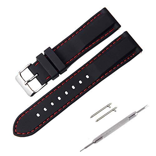 Correa Reloj, Fmway Repuesto de Correa Reloj de Silicona para Hombre y Mujer, 18mm, 20mm, 22mm, 24mm Silicona Correa Reloj con Hebilla de Acero Inoxidable Cepillado