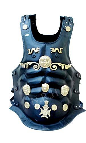 Nautical Replica Hub Armor Medieval Romana Peto Película Negro Chaqueta de Cuero Músculo Armadura Espartano Halloween