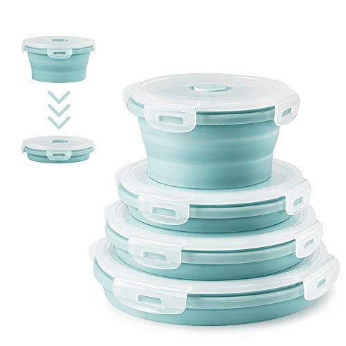 4Pcs Runden Silikon zusammenklappbaren Container Faltbare Frischhalteboxen Brotdosen aus Silikon Faltbare Silikon Brotbox Faltbare Silikon Vorratsdosen-Sets leicht zu tragen frischhaltedosen Set(Blau)