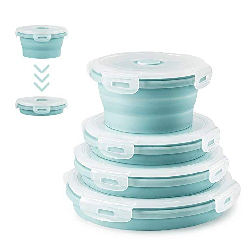 Round Silicone Collapsible Containers 4 PCS Collapsible Food Storage Containers Bento Lunch Boxes Reusable Space Saving Silicone Containers Picnic Boxes Convenient Storage Container Sets (Blue)
