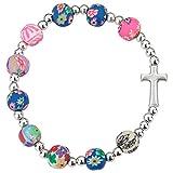 MaMeMi Armband mit Kreuz, Bunte Perlen. Toller Schmuck insbesondere als Geschenk zur Kommunion...