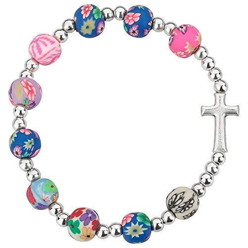 MaMeMi Armband mit Kreuz, Bunte Perlen. Toller Schmuck insbesondere als Geschenk zur Kommunion /