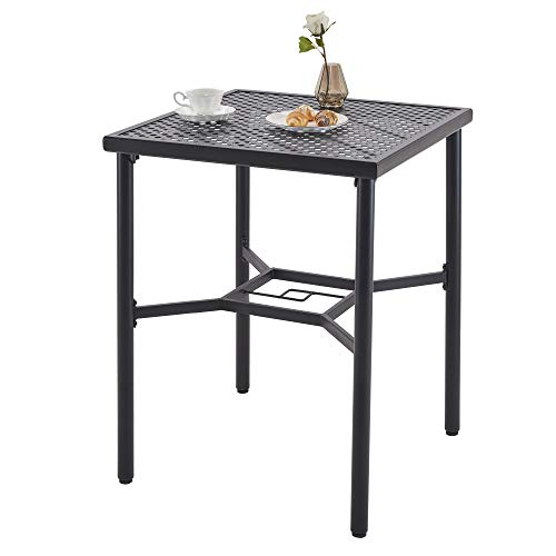Outdoor Bar Table Patio Bistro Square Table with Umbrella Hole
