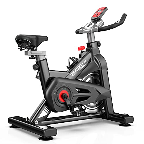 MBB Indoor Exercise Bike Stationary 35 LBS Flywheel,450 LBS Super Support, LCD Display Monitor Tablet Mount Comfortable Seat Cushion Cardio Workout Spin Bike Training Cycling Belt Quiet and Smooth Bicicletas Para Hacer Ejercicio en Casa (black)