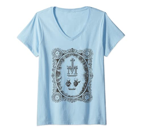 Mujer Medalla Milagrosa Sagrado Corazón Inmaculada María Católico Camiseta Cuello V
