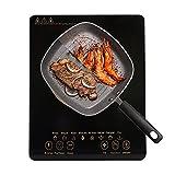 Placa De Inducción Impermeable De Alta Potencia Estufas De Panel Microcristalino De 8 Velocidades Para Cocina (Color : Black)