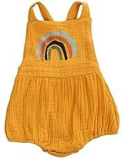 طفل طفلة طفلة صبي قزح رومبير الرضع الصيف الوليد بذلة القطن الكتان وزرة أكمام الملابس 0-24 متر (Color : Yellow, Kid Size : 6M)