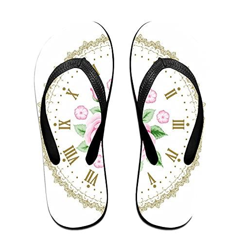 Sandalia fina unisex con chanclas,Shabby Flora Reloj Vintage Cara Rosas N, Yoga Mat chancletas de cuero cómodo Beach Tamaño de la correa con el peso ligero EVA Suela S