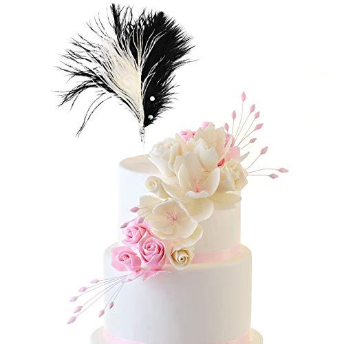 Perlas Cupcake Topper, Pastel Topper Plumas, Tarjeta de Decoración para Hornear, Magdalenas Cumpleaños Pasteles Decoración para Ducha Bebé Fiesta Cumpleaños Decoración Suministros (Negro)