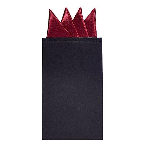 DonDon Herren Einstecktuch vorgefaltet für den perfekten Sitz - Bordeaux Rot
