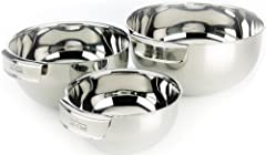 All-Clad's mixing bowl set features three bowls ideal for preparing ingredients or mixing batters Integrated handles ensure a firm, comfortable grip while mixing or whipping Constructed from durable 18/10 polished stainless steel Nest for convenient ...