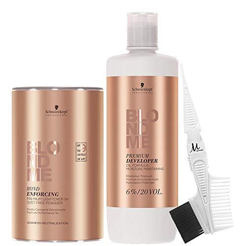 Schwarzkopf BlondMe Lightener 9+ Bond Enforcing Premium Dust Free 450 grams, Schwarzkopf BlondMe 6% / 20 Volume Premium Developer 1 Liter, M Hair Designs Tint Brush/Comb (Bundle - 3 items)
