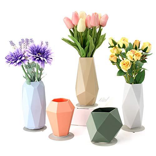 Vaso per fiori in silicone infrangibile per bambini, elegante vaso decorativo per decorazione della casa, soggiorno, tavolo, casa, ufficio, centrotavola, perfetto come regalo di nozze, set di 5 Fresh