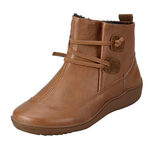 HDUFGJ Damen Stiefeletten Plus Samt Flache Stiefel Winterstiefel Wasserdicht kurz Boots warme gefüttert Reißverschluss Chelsea Boots Langschaft Absatz Outdoor-Schuhe Absätzen Knie38 EU(Braun)