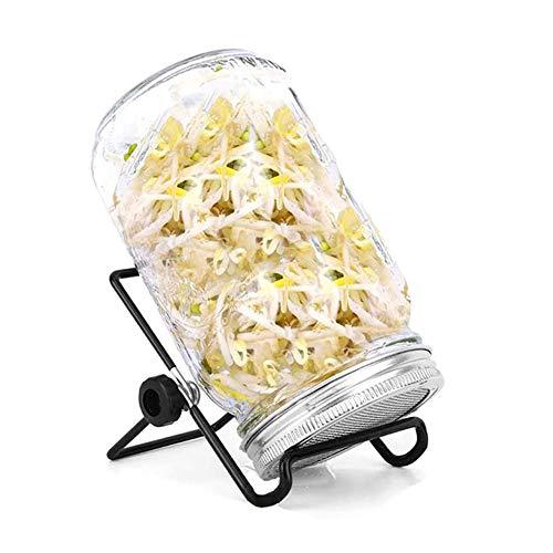 Kit de germination de graines bocal à germer avec couvercle de passoire en acier inoxydable, support, ensemble de germination pour faire pousser une salade de haricots broccolli de luzerne