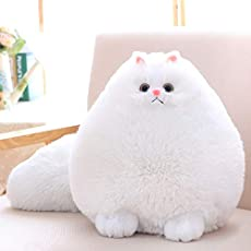 Winsterch Kids Cat Stuffed Animal Toys Gift Plush Cat Animal Baby Doll, Fat White Plush Cat,12 Inches