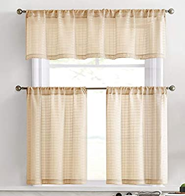 HLC.ME Buffalo Check Gingham Premium Semi Sheer Voile 3 Piece Kitchen Curtain Window Treatment Set - Perfect for Dining Room, Bathroom & Kitchen (24 inch Tiers, Taupe)