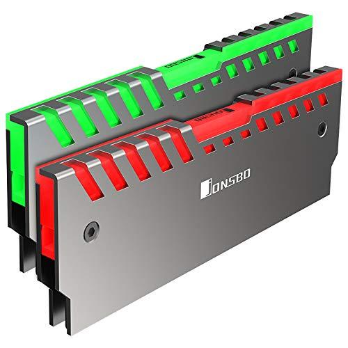 Jonsbo RGB RAM-Kühlung - wird Ihren Computerstil mit neuer Beleuchtung in 256 Farben auffrischen - Kühlkörper Pc - Übertaktung Mod DDR DDR2 DDR3 DDR4 - Silber- 2-Pack NC-2 AURAX2