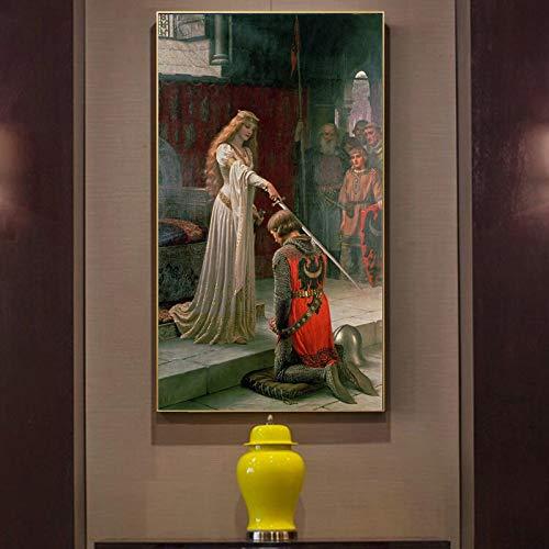 mmwin Inglaterra Famoso Pintor Edmund Blair Leighton galardones Carteles  impresión en Lienzo Pared Arte Lienzo Pintura para Sala de Estar Q 50x90cm